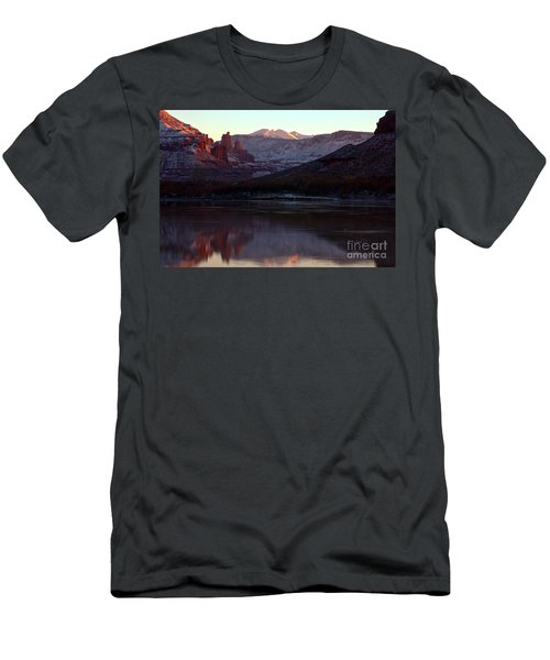 Men's T-Shirt (Slim Fit) featuring the photograph Sun Down At Fisher Towers by Adam Jewell