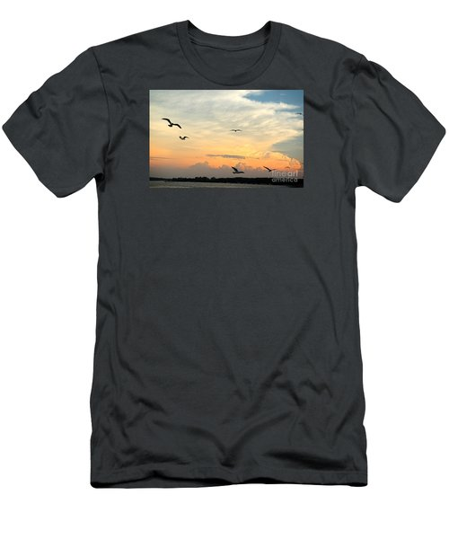 Sun Setting Over The Lake   Men's T-Shirt (Slim Fit) by Yumi Johnson