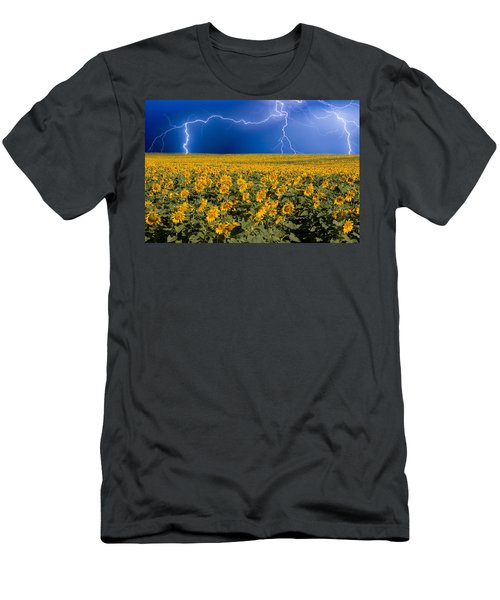 Sunflower Lightning Field  Men's T-Shirt (Athletic Fit)