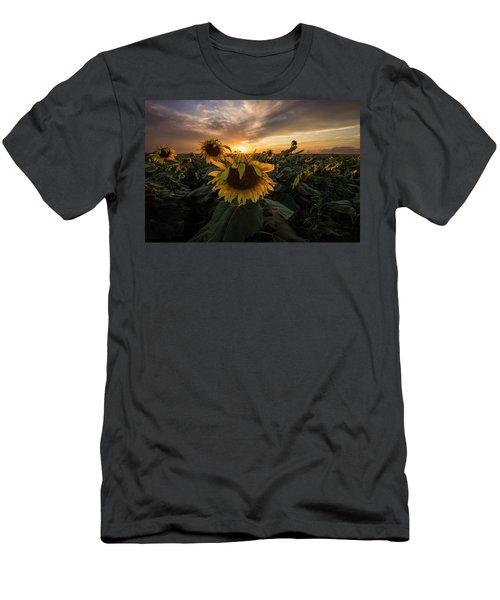 Men's T-Shirt (Athletic Fit) featuring the photograph Sunflower Sunstar  by Aaron J Groen