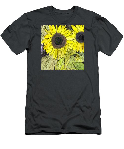 Men's T-Shirt (Slim Fit) featuring the painting Sunflowers by Lou Belcher