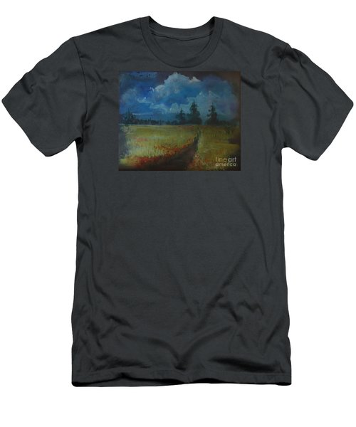 Men's T-Shirt (Slim Fit) featuring the painting Sunny Field by Christina Verdgeline