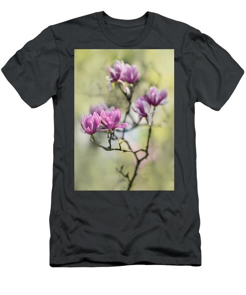 Men's T-Shirt (Athletic Fit) featuring the photograph Sunny Impression With Pink Magnolias by Jaroslaw Blaminsky