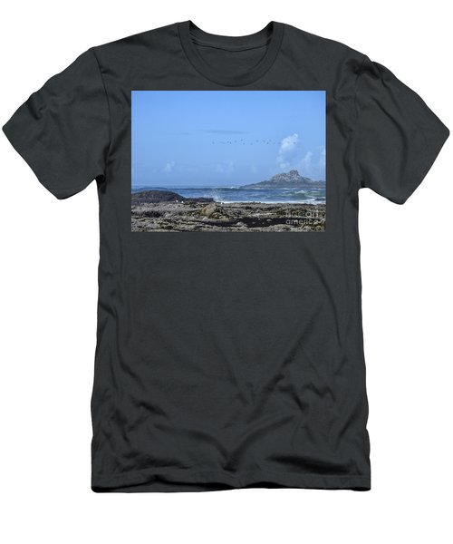 Men's T-Shirt (Athletic Fit) featuring the photograph Sunny Morning At Roads End by Peggy Hughes