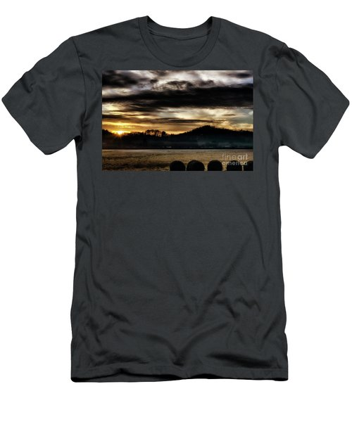 Men's T-Shirt (Slim Fit) featuring the photograph Sunrise And Hay Bales by Thomas R Fletcher
