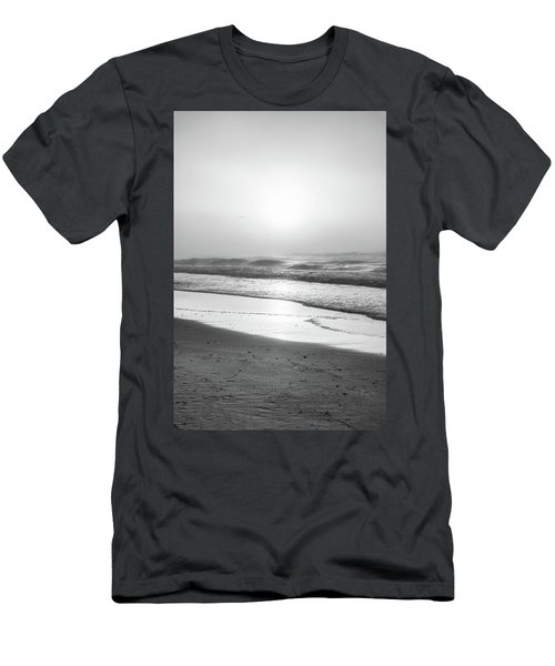 Men's T-Shirt (Slim Fit) featuring the photograph Sunrise At Beach Black And White  by John McGraw