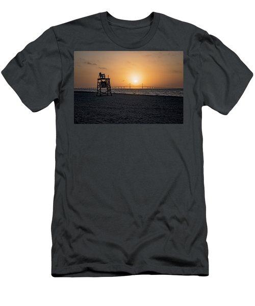 Sunrise At The Skyway Bridge Men's T-Shirt (Slim Fit) by Michael White