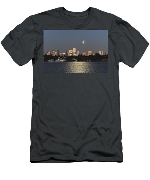 Men's T-Shirt (Slim Fit) featuring the photograph Sunrise Moon Over Miami by Gary Dean Mercer Clark