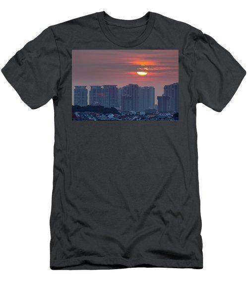 Sunrise Over Singapore Residential Neighborhood Men's T-Shirt (Athletic Fit)
