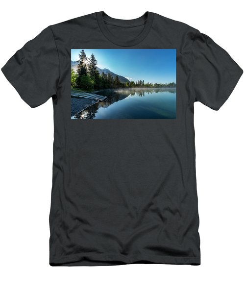 Men's T-Shirt (Slim Fit) featuring the photograph Sunrise Over The Mountain And Through The Tree by Darcy Michaelchuk