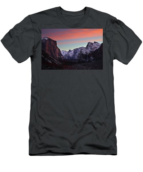 Men's T-Shirt (Slim Fit) featuring the photograph Sunrise Over Yosemite Valley In Winter by Jetson Nguyen