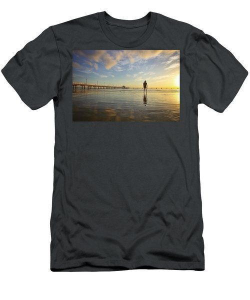 Sunrise Silhouette Down By The Pier. Men's T-Shirt (Athletic Fit)