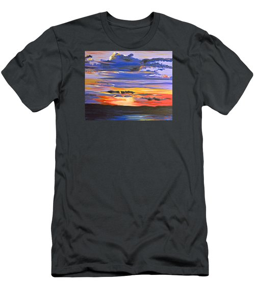 Men's T-Shirt (Slim Fit) featuring the painting Sunset #5 by Donna Blossom