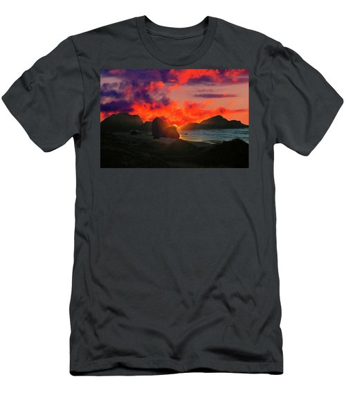 Sunset At Oregon Beach Men's T-Shirt (Athletic Fit)
