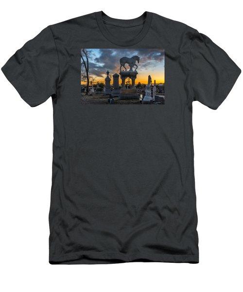 Sunset At Riverside Cemetery Men's T-Shirt (Slim Fit) by Stephen  Johnson