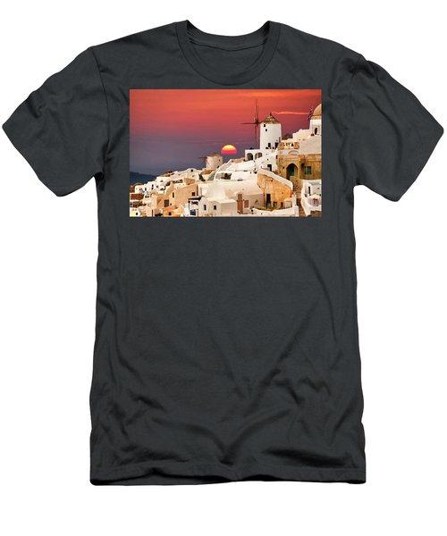 sunset at Santorini Men's T-Shirt (Athletic Fit)