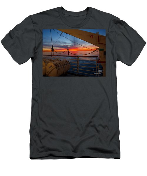 Men's T-Shirt (Slim Fit) featuring the photograph Sunset At Sea by Trena Mara