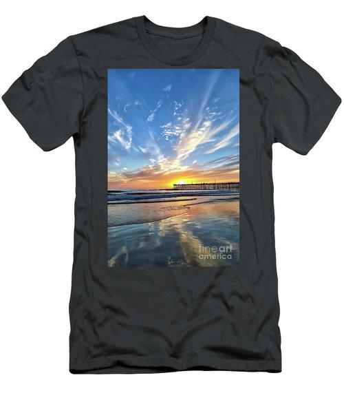 Sunset At The Pismo Beach Pier Men's T-Shirt (Slim Fit) by Vivian Krug Cotton