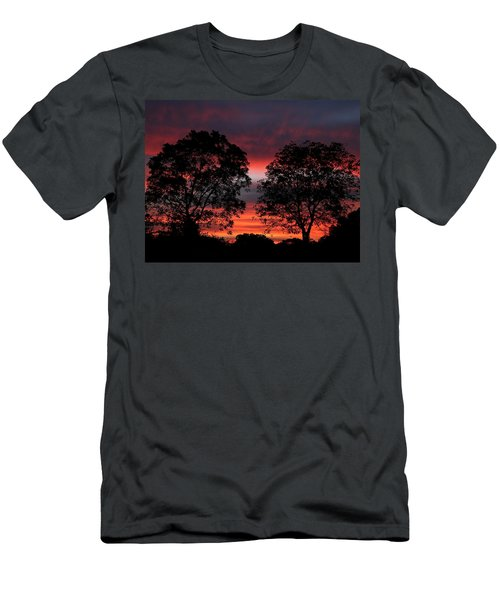 Sunset Behind Two Trees Men's T-Shirt (Slim Fit) by Sheila Brown