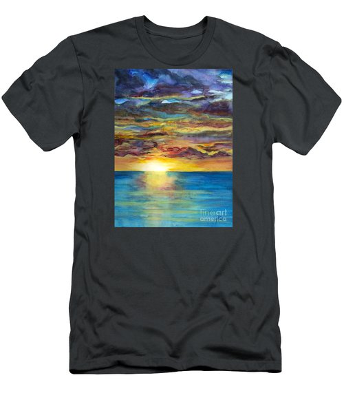 Men's T-Shirt (Slim Fit) featuring the painting Sunset II by Suzette Kallen