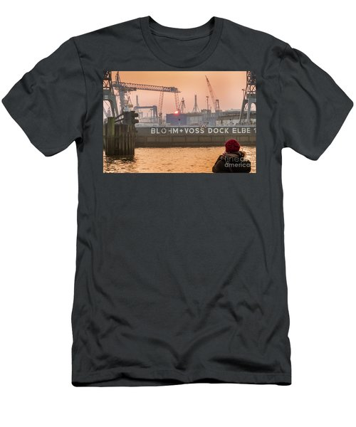Sunset In Hamburg Port Germany Men's T-Shirt (Athletic Fit)