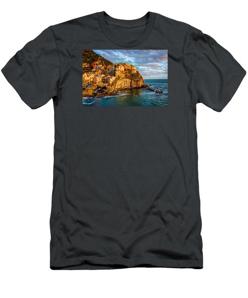 Men's T-Shirt (Slim Fit) featuring the photograph Sunset In Manarola by Wade Brooks