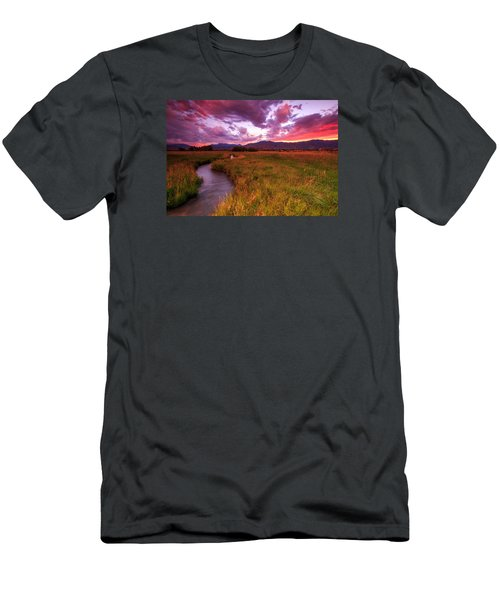 Men's T-Shirt (Slim Fit) featuring the photograph Sunset In The North Fields. by Johnny Adolphson
