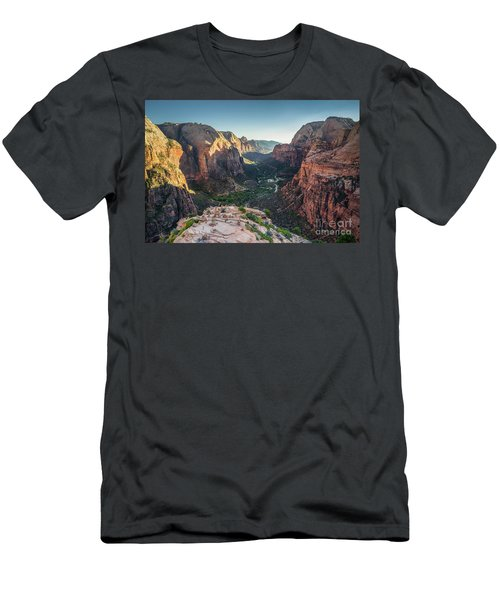 Sunset In Zion National Park Men's T-Shirt (Slim Fit) by JR Photography