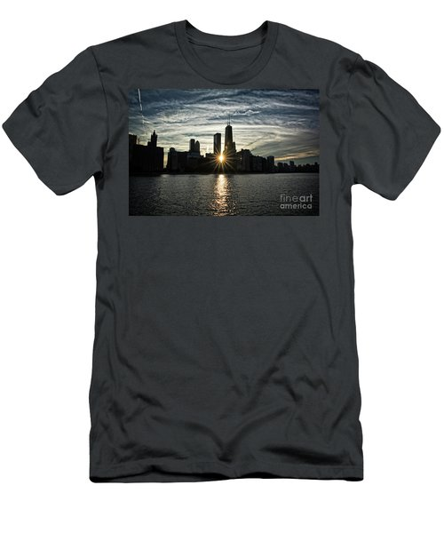 Sunset Over Chicago Skyline And Lake Michigan Men's T-Shirt (Athletic Fit)