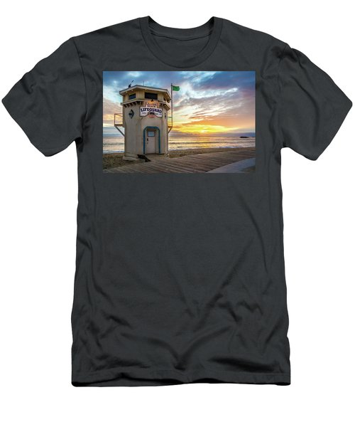 Sunset Over Laguna Beach Lifeguard Station Men's T-Shirt (Athletic Fit)