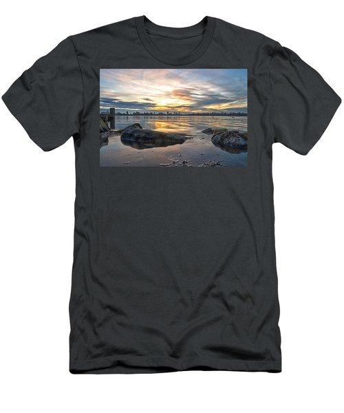 Sunset Over Lake Kralingen  Men's T-Shirt (Slim Fit) by Frans Blok