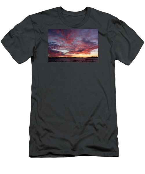 Men's T-Shirt (Slim Fit) featuring the photograph Manasquan Inlet Sunset    by Melinda Saminski