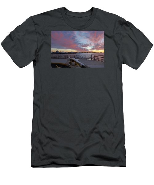 Men's T-Shirt (Slim Fit) featuring the photograph Sunset Over Manasquan Inlet 3 by Melinda Saminski
