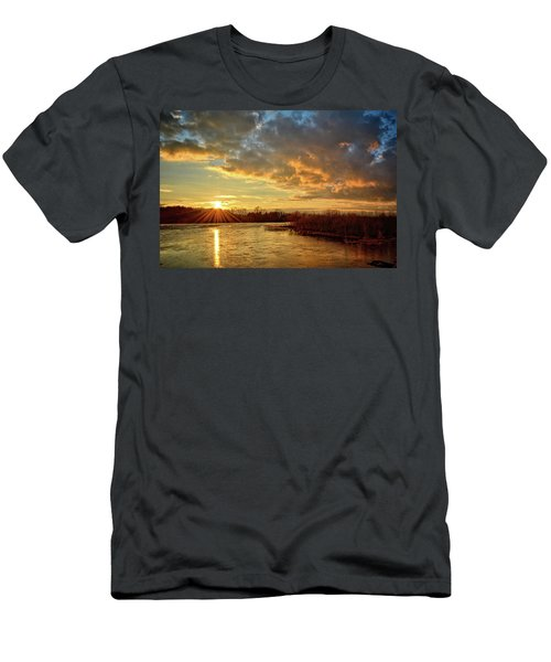 Sunset Over Marsh Men's T-Shirt (Slim Fit) by Bonfire Photography