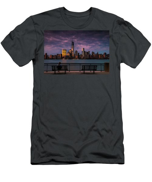 Men's T-Shirt (Slim Fit) featuring the photograph Sunset Over New World Trade Center New York City by Ranjay Mitra