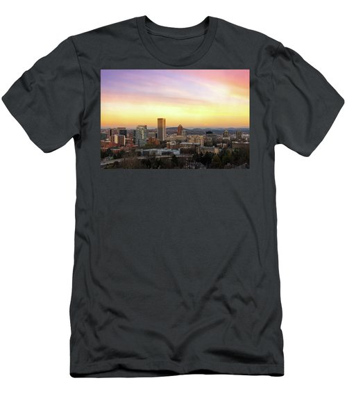 Sunset Over Portland Cityscape And Mt Hood Men's T-Shirt (Athletic Fit)