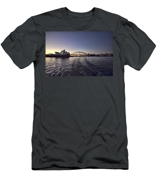 Sunset Over Sydney Harbor Bridge And Sydney Opera House Men's T-Shirt (Slim Fit) by Douglas Barnard