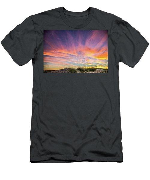 Sunset Over The Dunes Men's T-Shirt (Slim Fit) by Vivian Krug Cotton