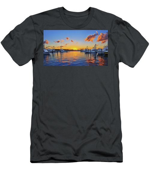 Sunset Over The Sailfish Marina In Riviera Beach Florida Men's T-Shirt (Athletic Fit)