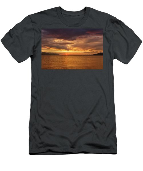 Sunset Over The Sea, Opuzen, Croatia Men's T-Shirt (Slim Fit) by Elenarts - Elena Duvernay photo