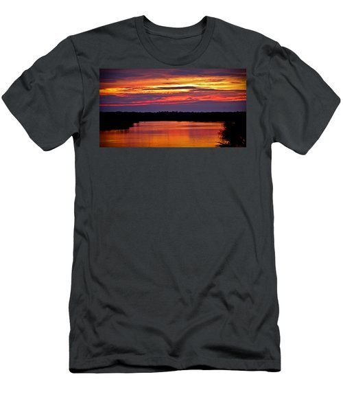 Sunset Over The Tomoka Men's T-Shirt (Slim Fit) by DigiArt Diaries by Vicky B Fuller