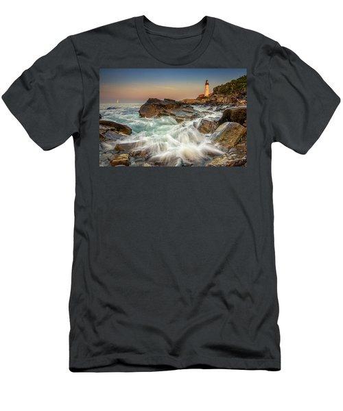 Sunset Sail At Portland Head Light Men's T-Shirt (Athletic Fit)