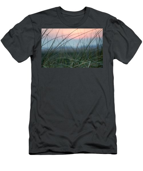Sunset  Through The Marsh Grass Men's T-Shirt (Slim Fit) by Spikey Mouse Photography