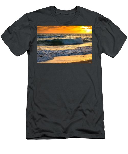 Men's T-Shirt (Slim Fit) featuring the photograph Sunset Waves by Rebecca Hiatt