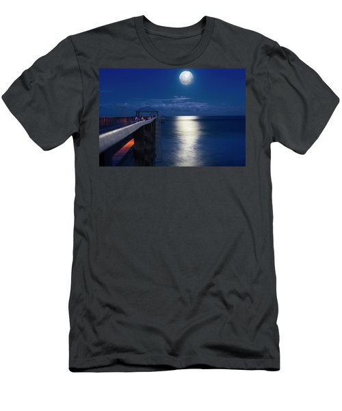 Men's T-Shirt (Slim Fit) featuring the photograph Super Moon At Juno by Laura Fasulo