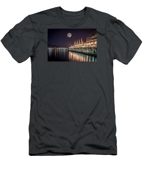 Super Moon Over Canada Place Men's T-Shirt (Slim Fit) by Sabine Edrissi