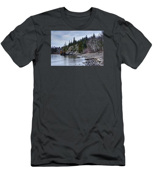 Men's T-Shirt (Slim Fit) featuring the photograph Superior Cliffs by Larry Ricker