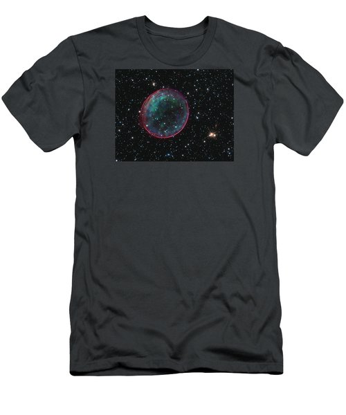 Men's T-Shirt (Athletic Fit) featuring the pyrography Supernova Bubble Resembles Holiday Ornament by Artistic Panda