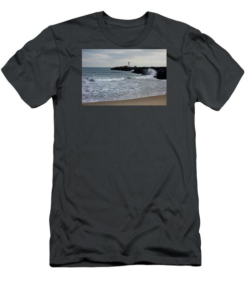 Men's T-Shirt (Slim Fit) featuring the photograph Surf Beach At Manasquan Inlet by Melinda Saminski