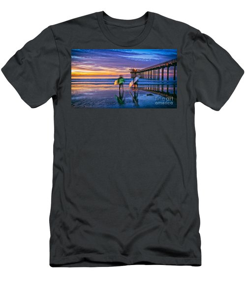 Surfers At Scripps Pier In La Jolla California Men's T-Shirt (Athletic Fit)